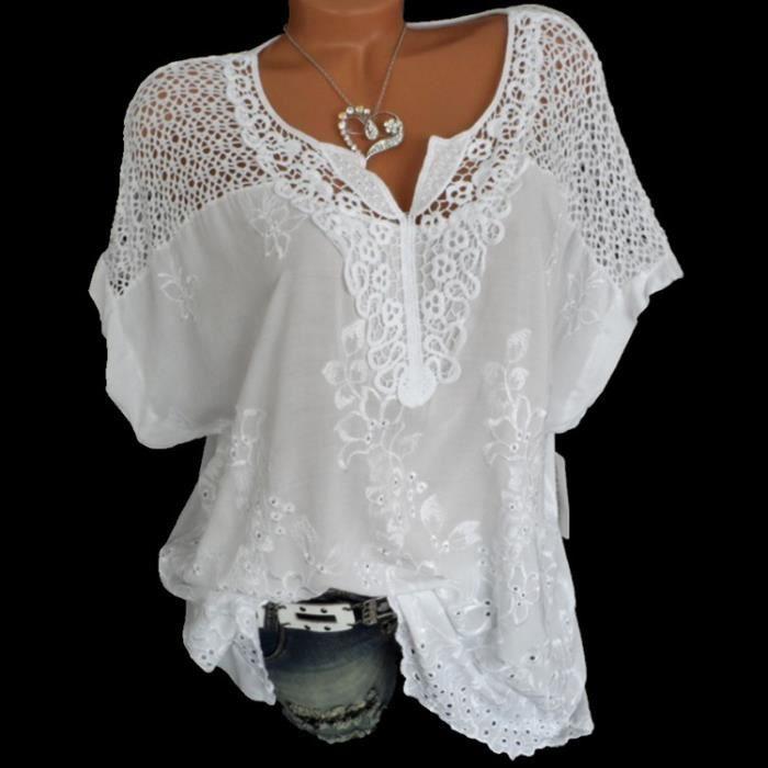 Boho Blouses shirt cintreé avec V-Neck et œillets dentelle