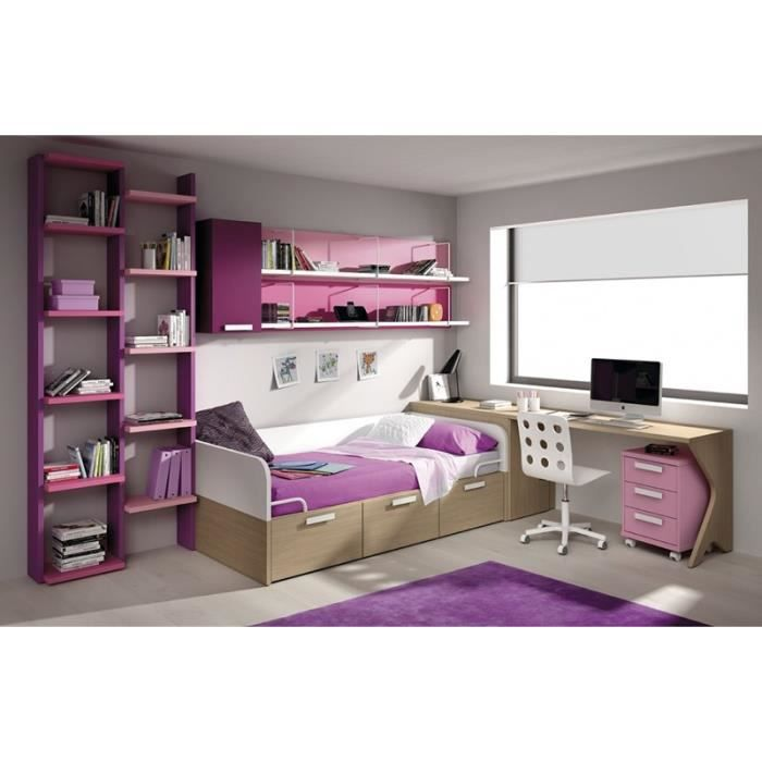 chambre duno litchi lit bureau et biblioth que achat. Black Bedroom Furniture Sets. Home Design Ideas