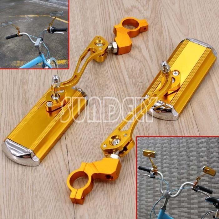 2x Aluminium Vélo guidon Vue arrière Rectangle Verres Cyclisme rétroviseur de