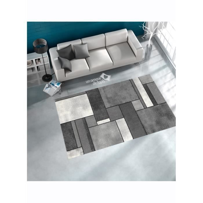 Tapis de salon brillance geometrique gris 160x230 achat vente tapis cd - Tapis salon gris design ...