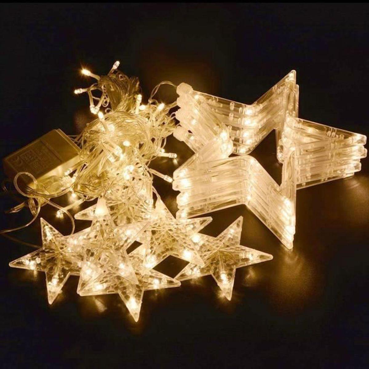 Deco De Noel Lumineuse Pour Fenetre 12 Étoiles lumières de rideaux 138leds guirlande lumineuse