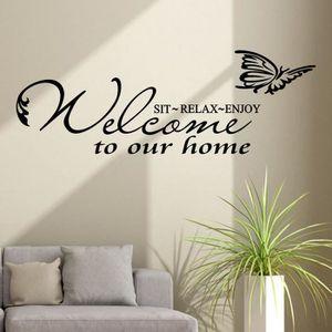 STICKERS DE NOËL Stickers muraux Bienvenue à notre Maison Amovible