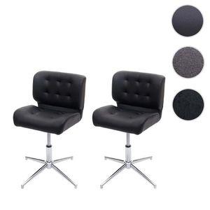 chaise pivotante Salle à manger chaise hwc-f19 Réglable En Hauteur Cuir Synthétique Noir