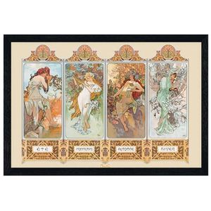 AFFICHE - POSTER Poster 61x91,5cm cadre en bois noir Seasons, 1896