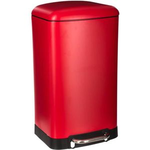 POUBELLE - CORBEILLE Poubelle métal 30L à pédale et silencieuse - Rouge