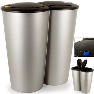 POUBELLE DE TABLE Double poubelle 2x25 litres Poubelle duo bouton-po