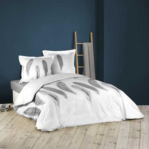 HOUSSE DE COUETTE ET TAIES Parure de lit imprimée douceur et plumes Blanc 240