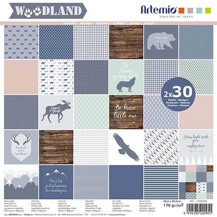 Bloc de 60 feuilles de papier scrapbooking 30x30 cm 'Woodland' d'Artemio