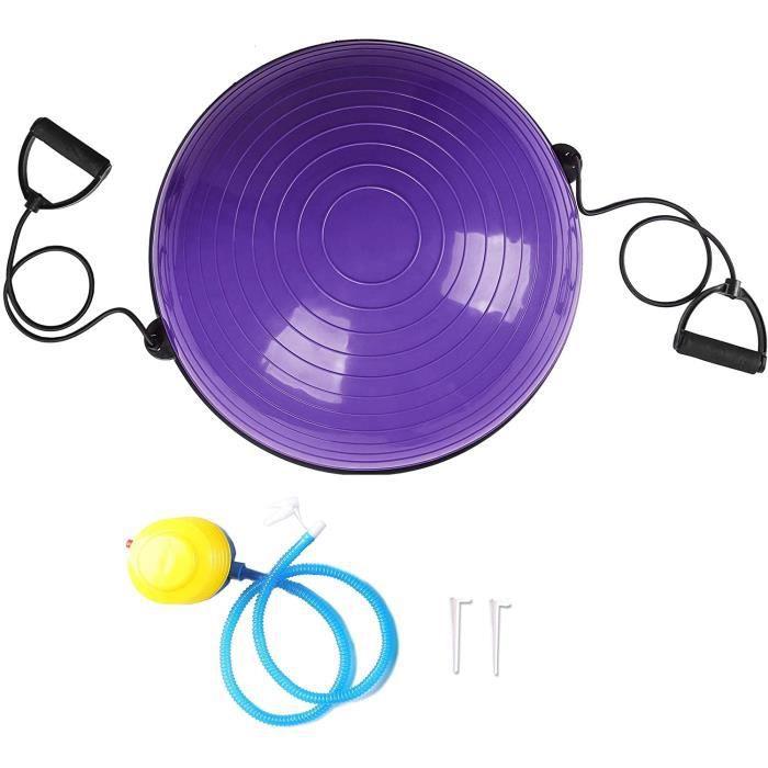 Balance Trainer Ball, 58 cm Ballon d'Équilibre avec Cordes Élastiques, Demi-Ballon avec Câbles de Résistance et Pompe à Pied Violet