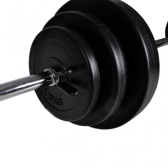 Kit de barre d'haltère et 2 haltères 305 kg