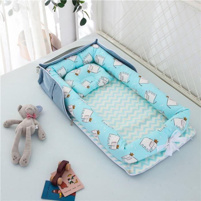 Lit Bébé Portable en Coton Reducteur de lit Pliable Nid pour nouveau-né nourrisson de voyage Lavable Berceau 0-2 Ans, Éléphant Bleu