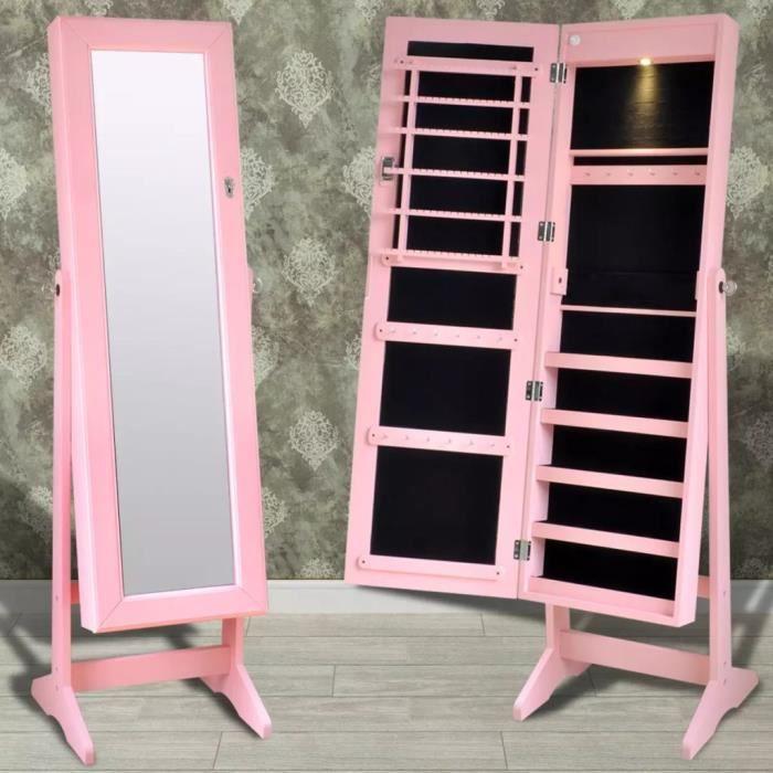 Chambre De Fille : Miroir Psyché Rose Sur Pied - Armoire à Bijoux Verrouillable - Éclairage LED - Design Intemporel - 46*37*146cm