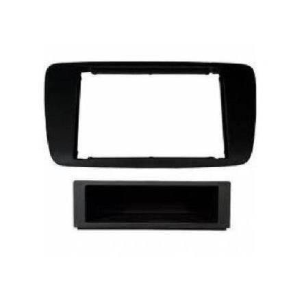 Adaptateur de façade d'autoradio simple DIN noir métal Seat Ibiza 2008 >