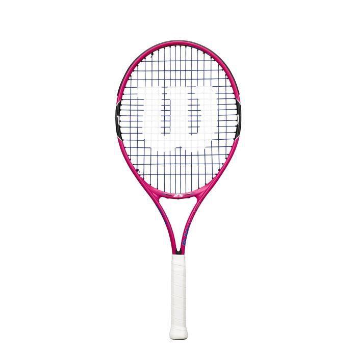 Wilson Raquette de Tennis pour Filles, Burn Pink 23, Taille 7-8 ans, Rose-Noir-Bleu, WRT218100