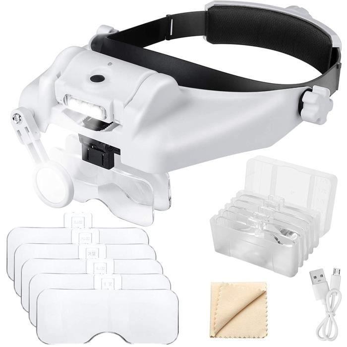 EEEKit 1X à 14X loupe Serre-tête avec lumière LED, Support de tête Mains Libres loupe visière Casque loupe Outils pour Bijoux 241