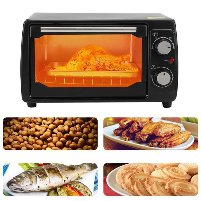 Petit Four Électrique de Bureau Multifonction 800W 10L Machine de Cuisson Ménage Appareil de Cuisine(EU 220V ) 250 ℃ HB010