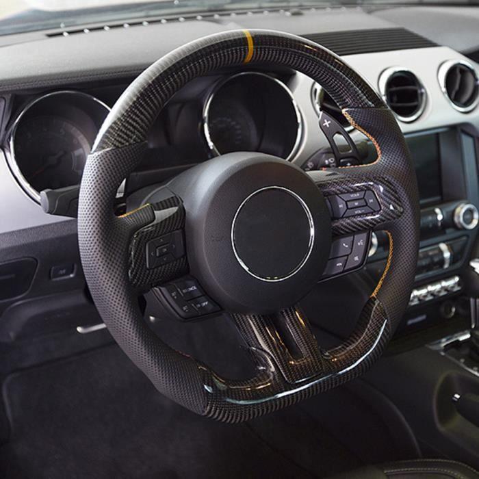 Volant En Fibre De Carbone En Cuir Perforé Nappa Adapté Pour Ford Mustang Ecoboost-Gt-Shelby Gt350-LAT