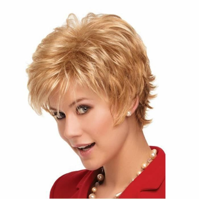 Xkeyus® Perruque Courte Blonde en fibres synthétiques Cheveux Naturel Mode Fantaisie pour Cosplay Soirée Fête