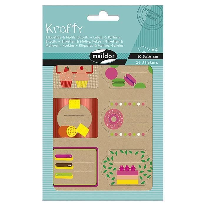 MAILDOR Pochette étiquettes décoratives Biscuits - 4 planches de 2 visuels - Assortis (Lot de 3)