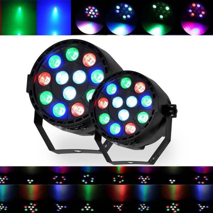 Jeux de lumières DJ LIGHT 2 PAR MINI à LEDs RGBW 12X3W DMX + étrier de fixation