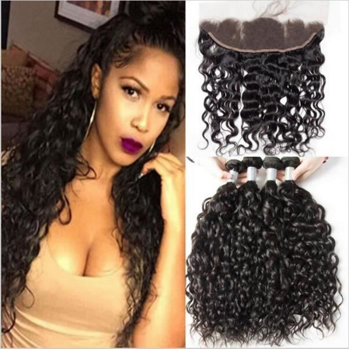 """3 Tissage Humain Hair 16""""18""""20"""" Bresilienne Water Wave cheveux naturel avec 13x4 Ear to EarLace Frontal Closure 14 Pouces"""