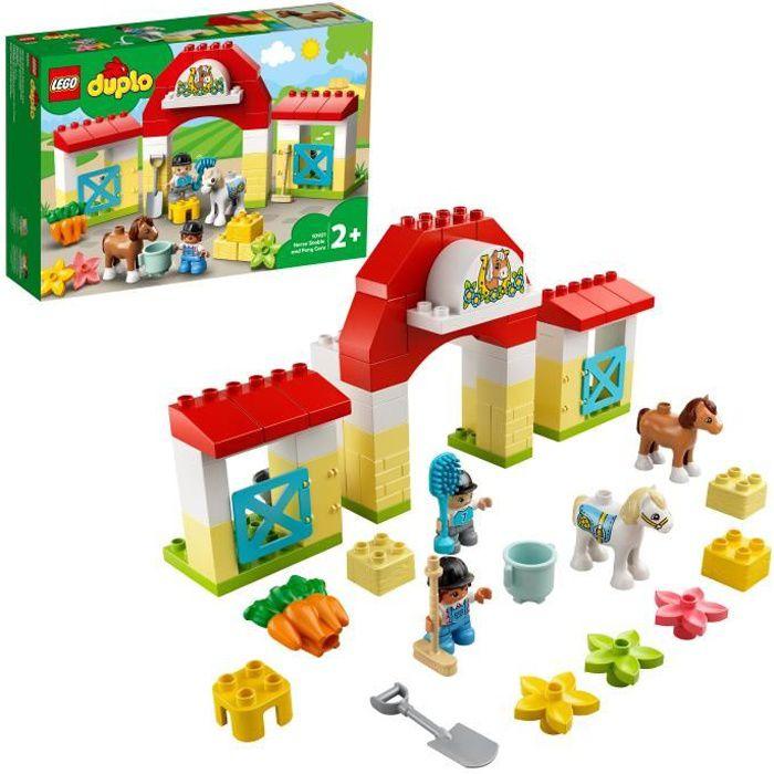 LEGO® 10951 DUPLO® Town L'écurie et Soins de Poneys Jouet avec Figurines pour Enfant de 2 Ans et +