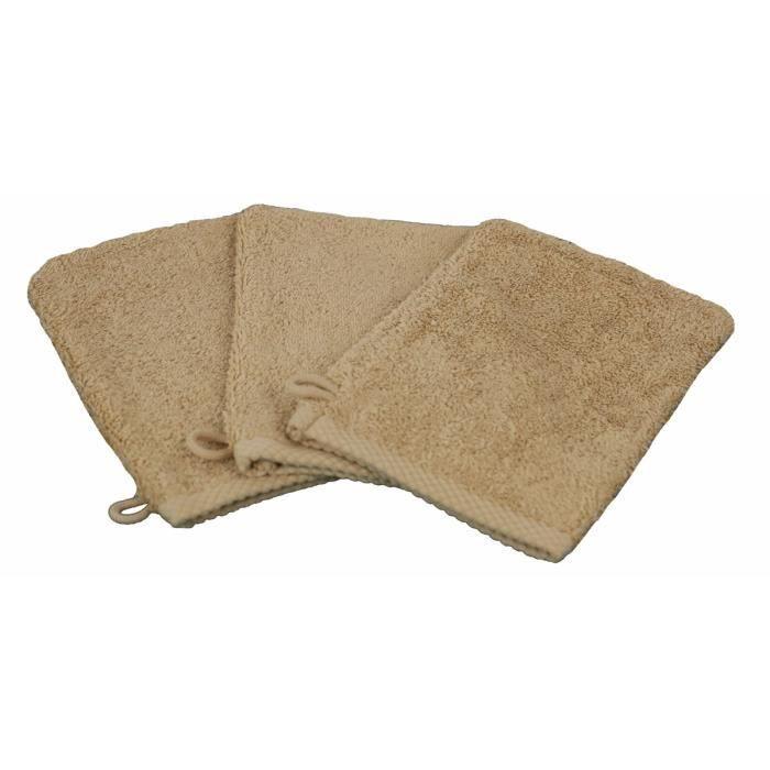 LINANDELLE - Lot de 3 gants de toilette coton eponge luxe ESSENTIELLE - Beige foncé