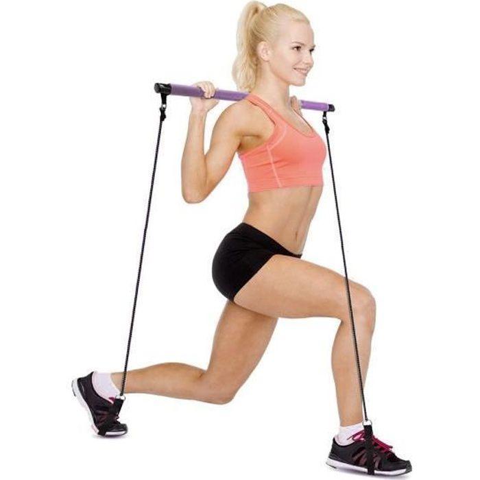 717176 Bâton gymnastique avec élastiques idéal pour fitness et pilates
