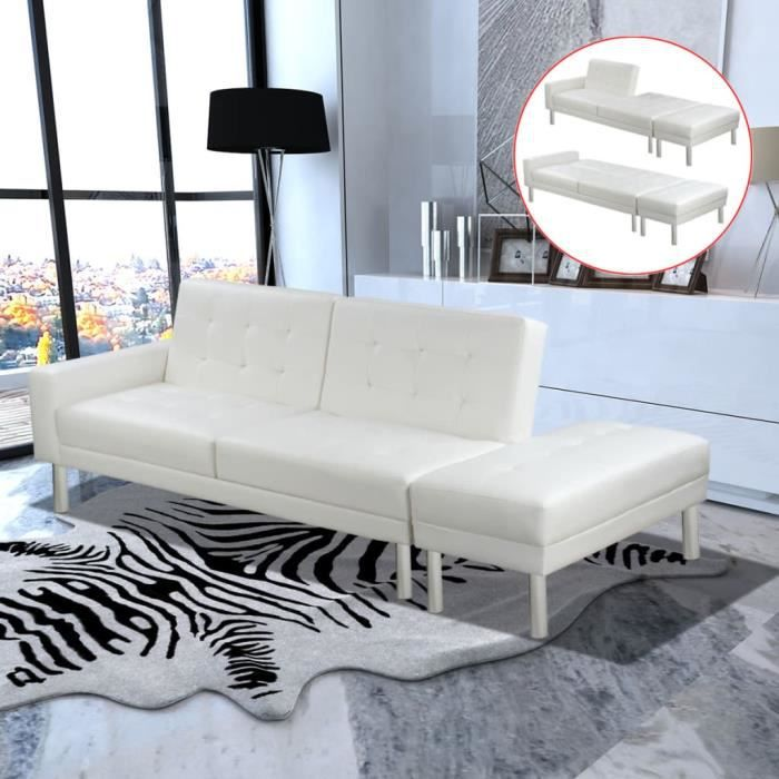 2618Jill® Canapé-lit,Canapé d'angle Convertible & Réversible - Design scandinave Cuir artificiel Blanc