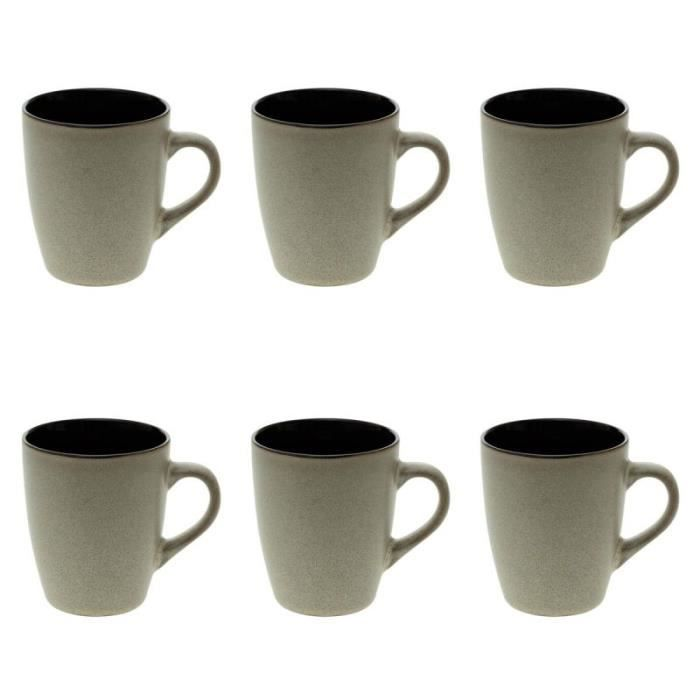 Lot de 6 Mugs Design -Moon- 38cl Beige