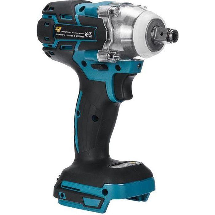 Drillpro choc électrique sans balai rechargeable 18V clé 1-2 clé à douille outil électrique rechargeable, la batterie avec LED bleue