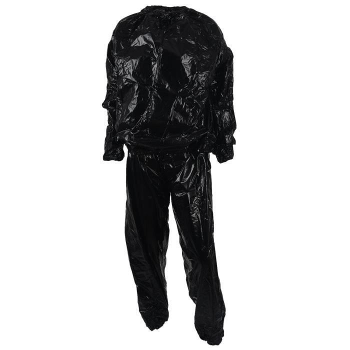 Heavy Duty Fitness Weight Loss Sweat Sauna Suit Exercice Gym Anti-Rip Noir XL