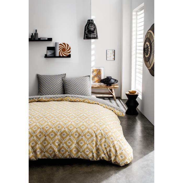 TODAY Parure de lit Mawira 1.13 - 1 housse de couette 220 x 240 cm et 2 taies d'oreiller 63 x 63 cm - 100% coton - Jaune