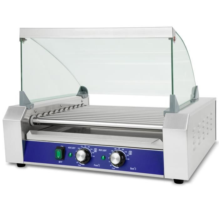 Vertes Gril à saucisses Hot Dog (11 rouleaux, 2200 Watt, température 50-250 °C, 2 zones de chauffage, couvercle en verre trempé)