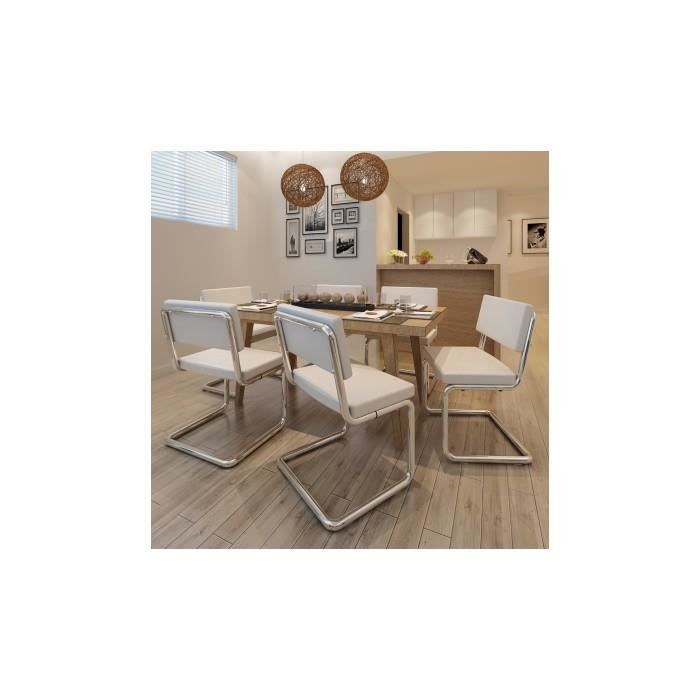 set de 6 chaises de salon design et moderne en pu cuir blanc achat vente chaise longue set. Black Bedroom Furniture Sets. Home Design Ideas