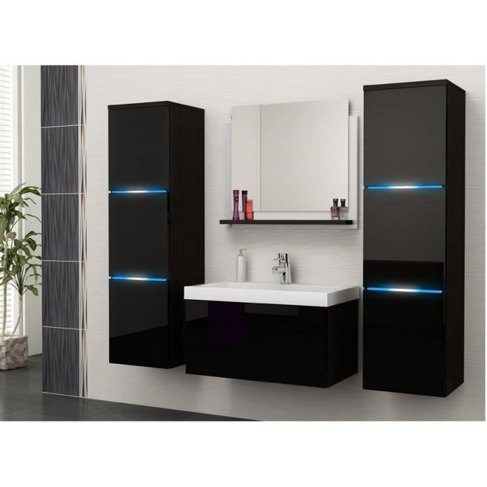Merveilleux Salle De Bain Complète LUNA Wengé Et Noir Façade Laqué, Brillante High  Gloss + Led + Vasque En Céramique + Miroir. Meuble Suspendu