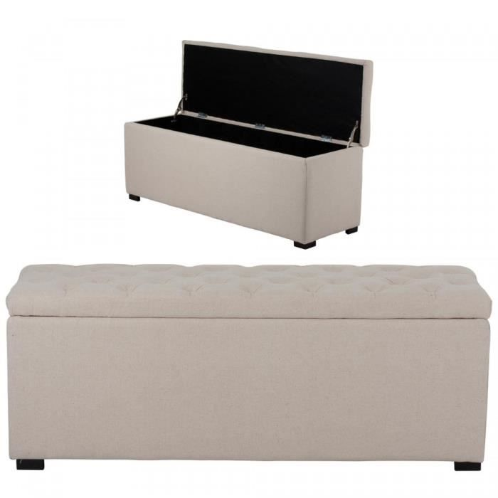 banquette coffre de rangement lin capitonne beige. Black Bedroom Furniture Sets. Home Design Ideas