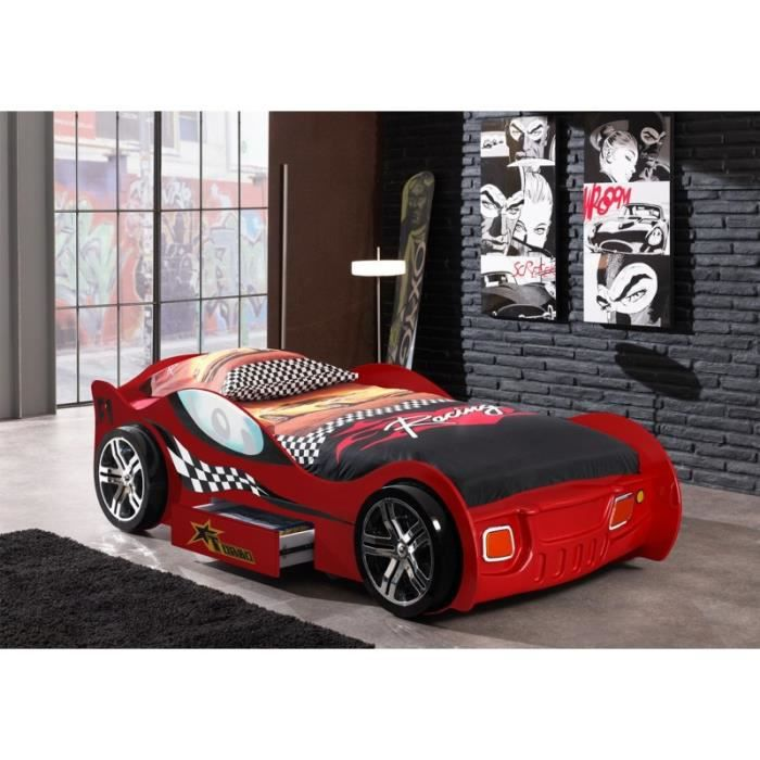 lit forme voiture rouge avec tiroir cox rouge achat vente structure de lit lit forme. Black Bedroom Furniture Sets. Home Design Ideas