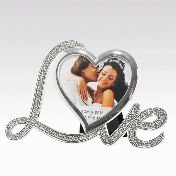 cadre photo love coeur strass achat vente cadre photo cdiscount. Black Bedroom Furniture Sets. Home Design Ideas