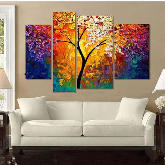 4pcs tableau peintures huile oil paysage abstraite arbre feuille art de mural achat vente. Black Bedroom Furniture Sets. Home Design Ideas