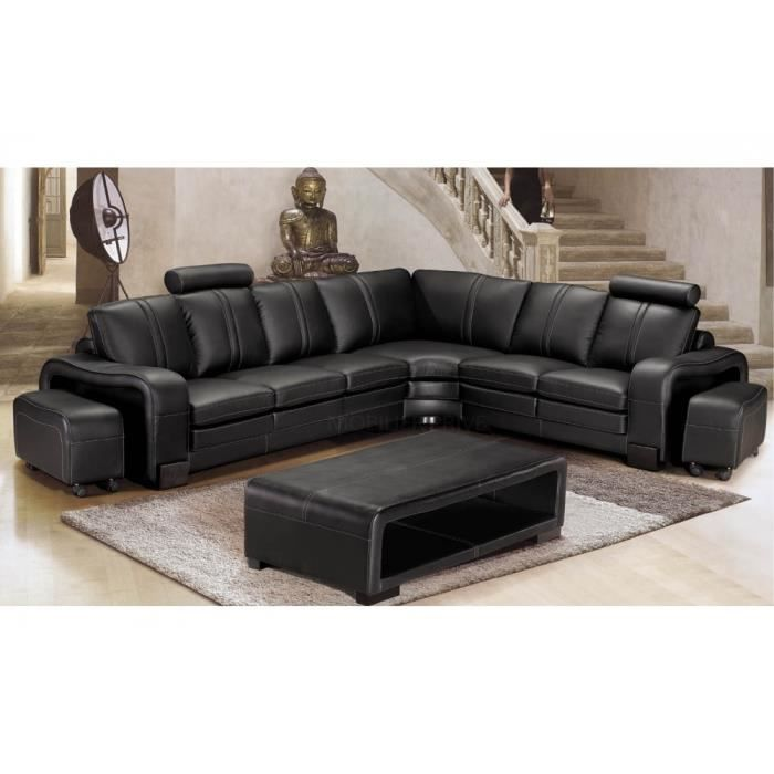 canap d 39 angle en cuir italien 7 places evita achat vente canap sofa divan cdiscount. Black Bedroom Furniture Sets. Home Design Ideas