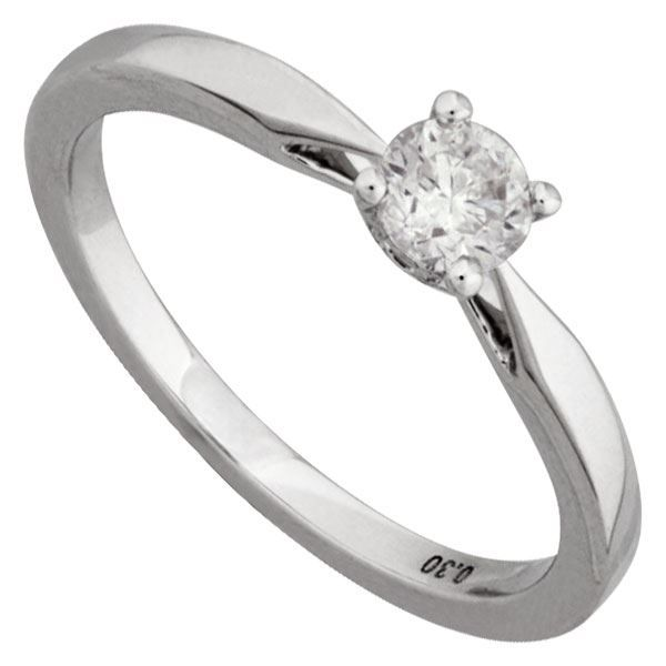 Solitaire 0.30 carat Or 18K blan...