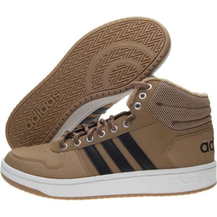 Baskets Adidas Hoops 2.0 Mid B44620 Marron Achat Vente