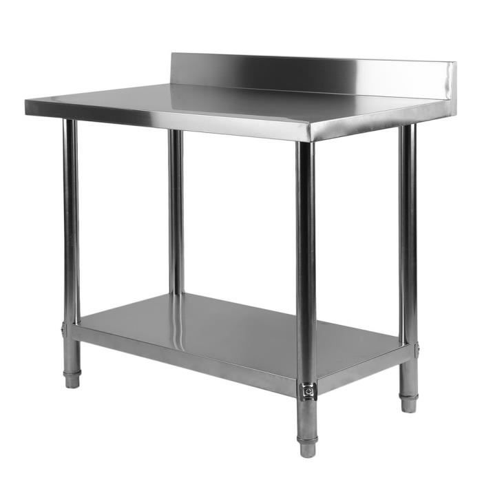 Pro Table De Travail Adossee Plan De Travail Inox 100x60x95cm
