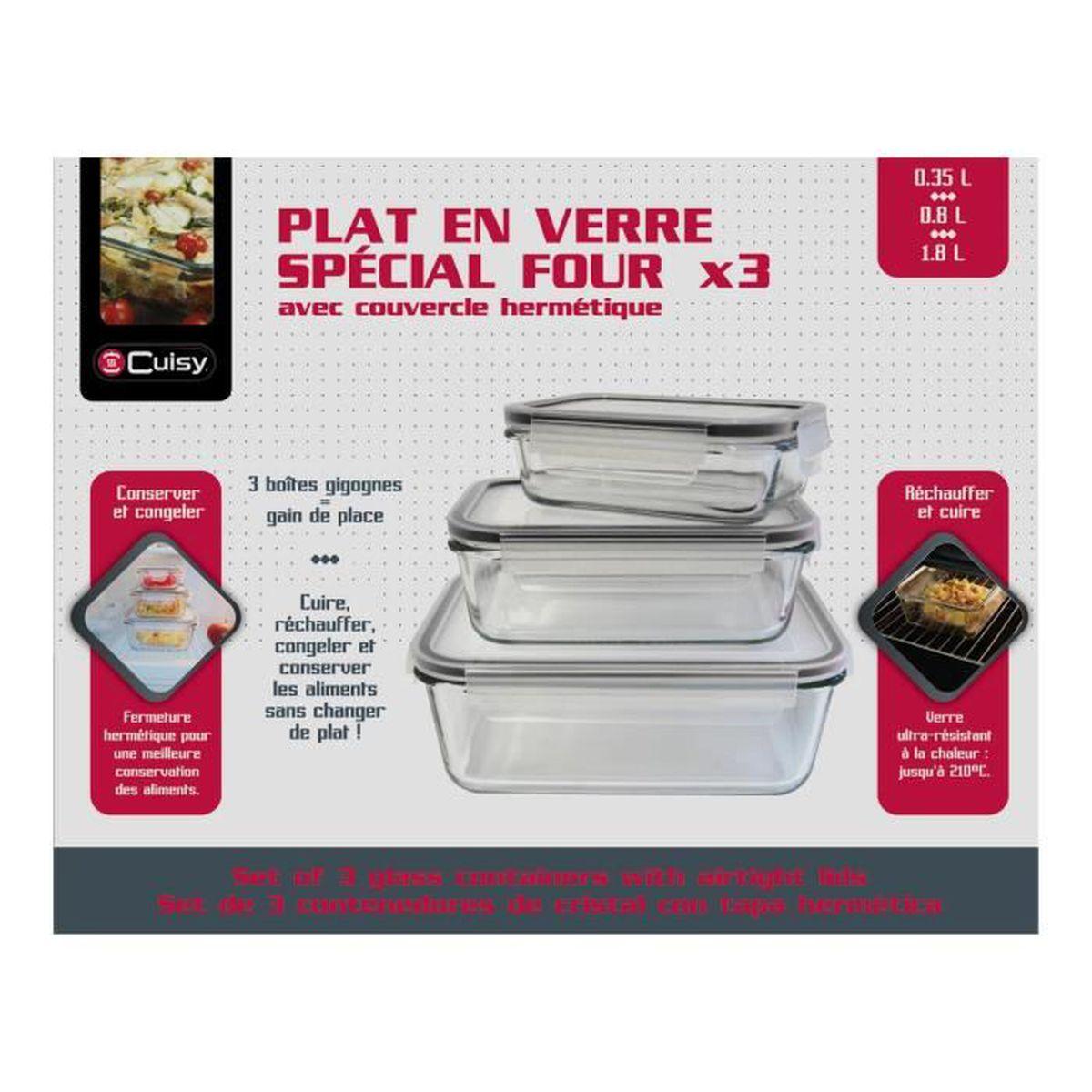 Plat En Verre Sur Plaque Induction cuisy – plat en verre ultra-résistant à la chaleur spécial four avec  couvercle hermétique – set de 6 pièces