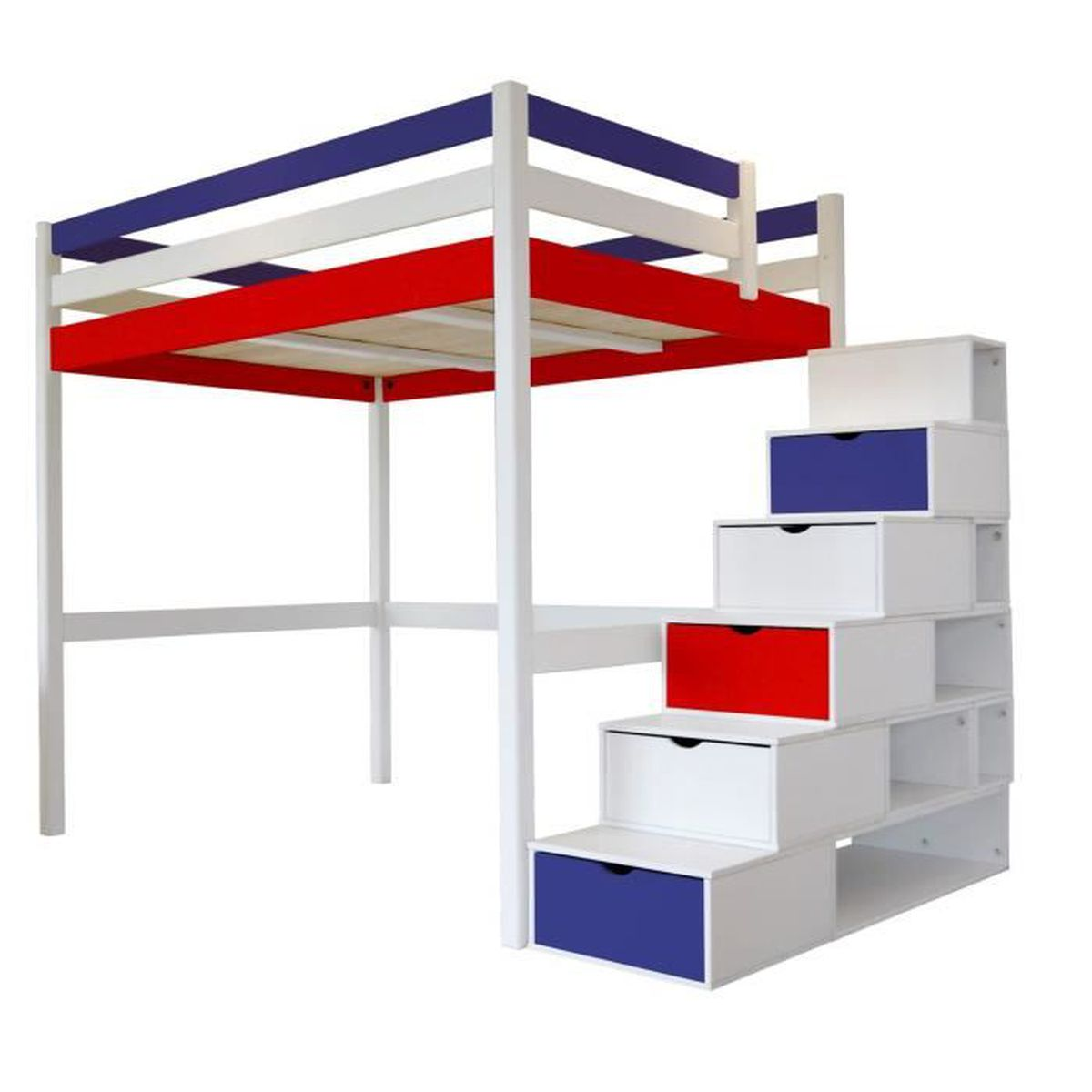 lit mezzanine sylvia avec escalier cube bois bleu blanc rouge 160x200 achat vente lit. Black Bedroom Furniture Sets. Home Design Ideas