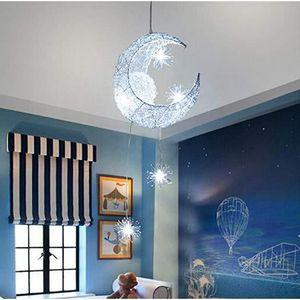 LUSTRE ET SUSPENSION Lune étoiles Suspension Lustres plafonnier avec 5