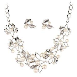 18K plaqué or femmes d/'eau douce Perle Boucles d/'oreilles collier pendentif bijoux Sets