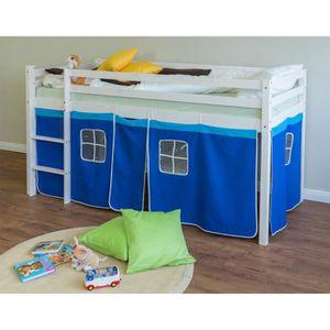 LIT MEZZANINE Lit mezzanine enfant bleu, 90 x 200 cm