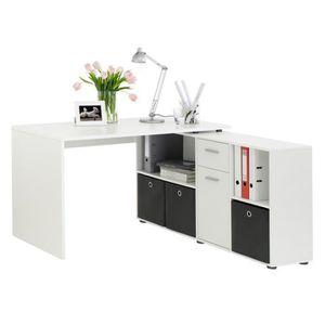 BUREAU  Bureau angulaire réversible en bois coloris blanc